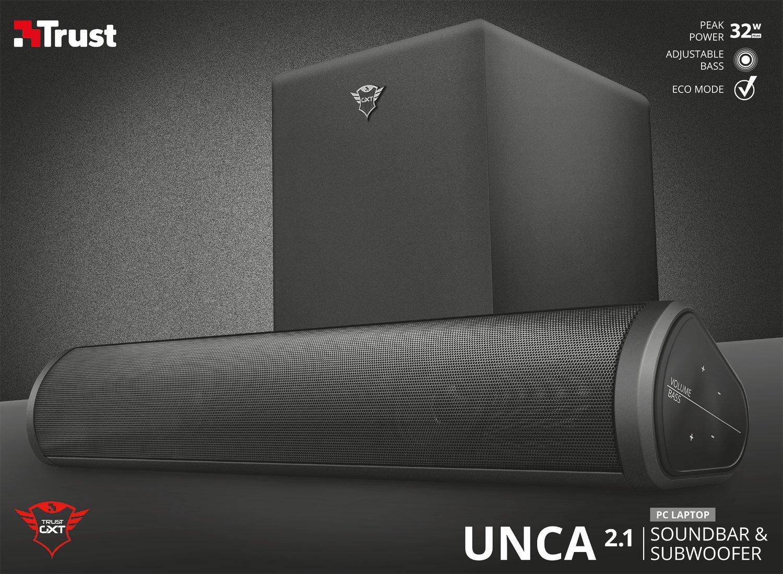 Color Negro Trust Gaming GXT 664 Unca Barra de Sonido 2.1 con subwoofer
