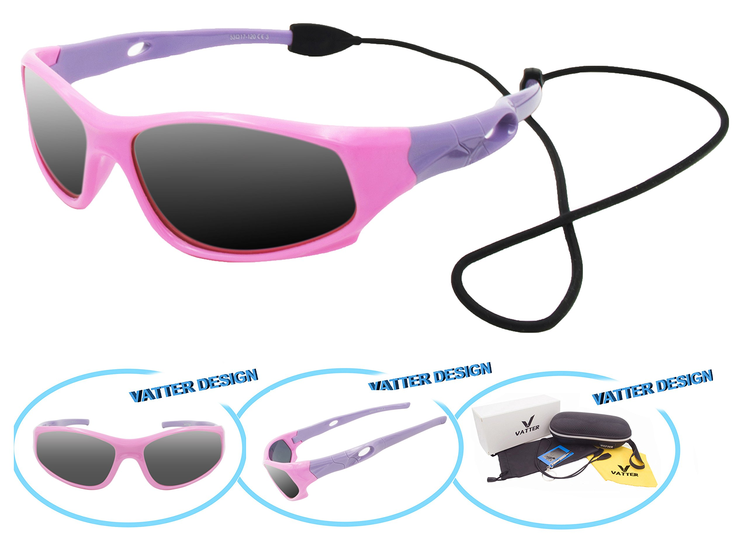 VATTER TR90 Unbreakable Polarized Sport Sunglasses For Kids Boys Girls Youth 816pinkpurple(gray lens)