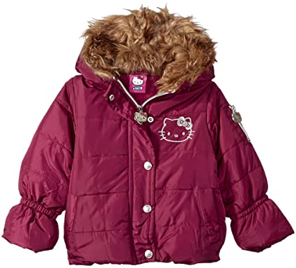 e6b72bf9e Hello Kitty Girls All Over Printed Puffer Jacket with Fur Trim Hood,  Burgundy 12 Months