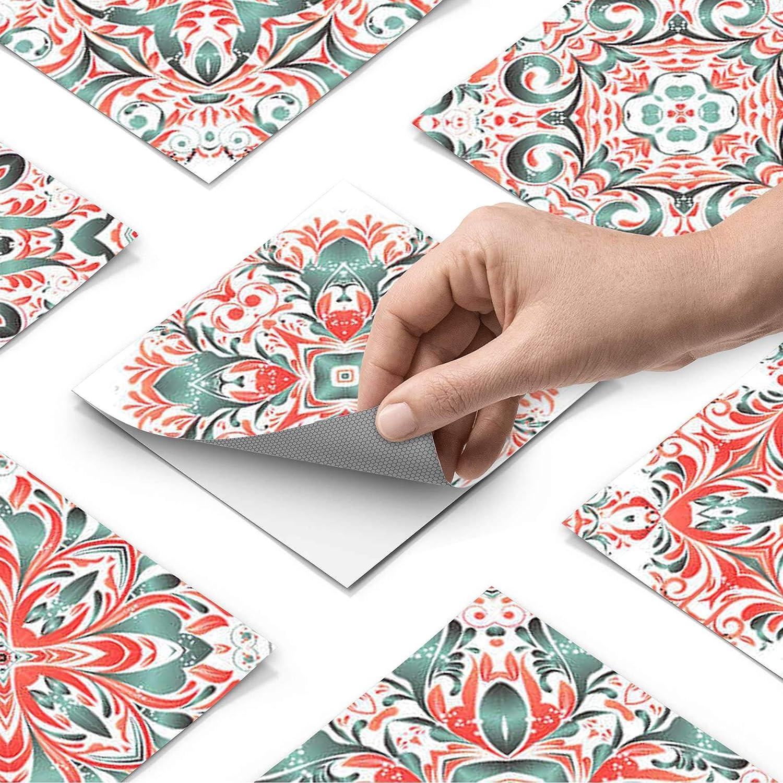 9 pi/èces Design Tuiles Mexicaines Stickers Carrelage adh/ésif Mural I D/écalque de Mur de PVC I Stickers carrelage 10x10 cm creatisto PVC Autocollant Carreau de Ciment I Mosaique Salle de Bain