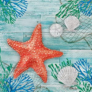 Celebrate the Home Beach-Themed 3-Ply Paper Cocktail Napkins, Clearwater Crab and Starfish, 20-Count
