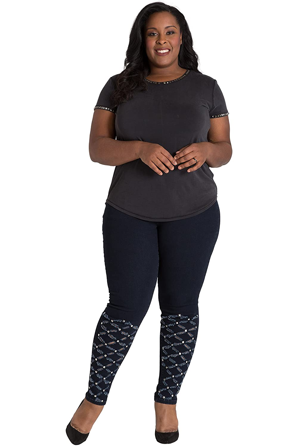 Poetic Justice Plus Size Womens Curvy Fit Laser Cut Studded Indigo Skinny Jeans