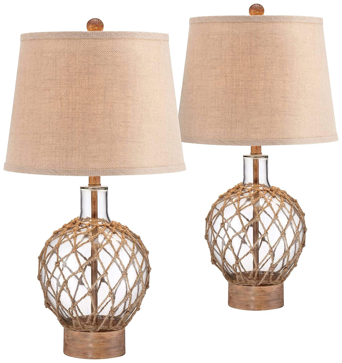 Coastal Table Lamps Set of 2 Rope and Clear Glass Jug Burlap Drum Shade for Living Room Family Bedroom Nightstand - 360 Lighting