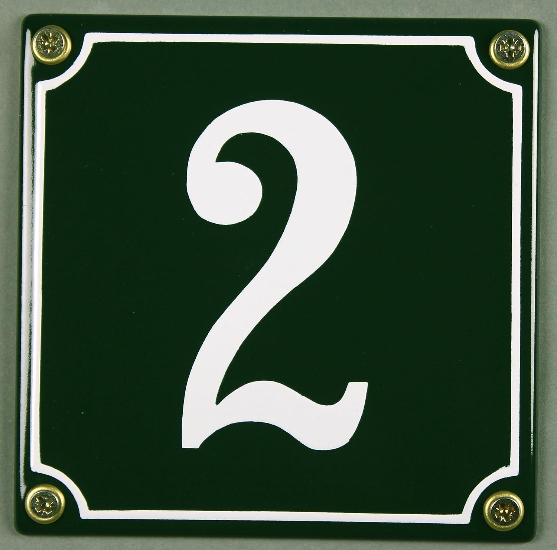 Emaille Hausnummernschild - Wählen Sie Ihre Nummer - Zahlen 1 bis 30 verfügbar - grün/weiß 12x12 cm und 12x14cm - sofort lieferbar! Hausnummer Schild wetterfest und lichtecht (1 grün/weiß 12x12cm) Buddel-Bini Versand