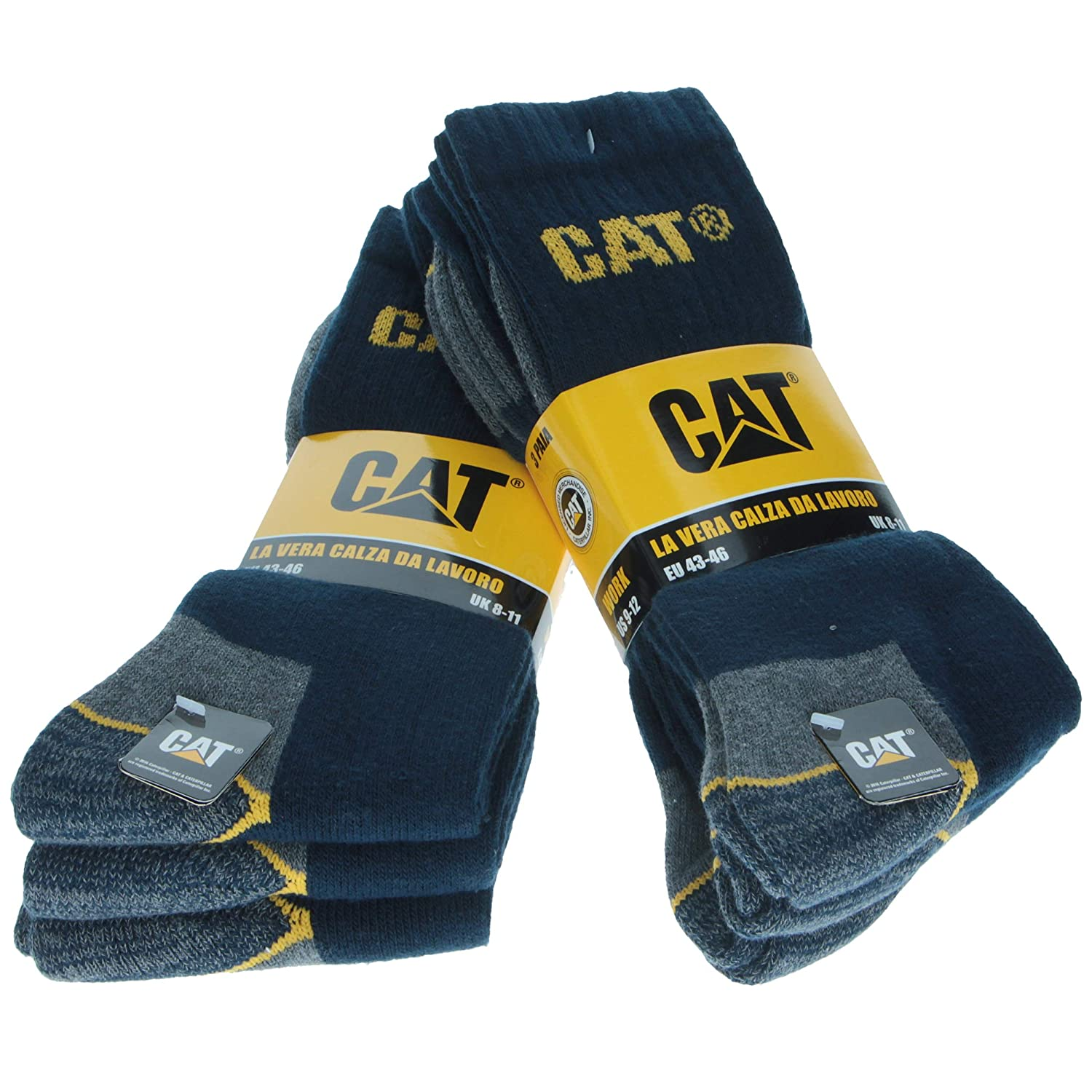 6 pairs Men's Work Socks Accident Prevention Reinforced on Heel and Toe with Reinforced Weft CAT CATERPILLAR Yarn of Excellent Quality Cotton Sponge available in various colors