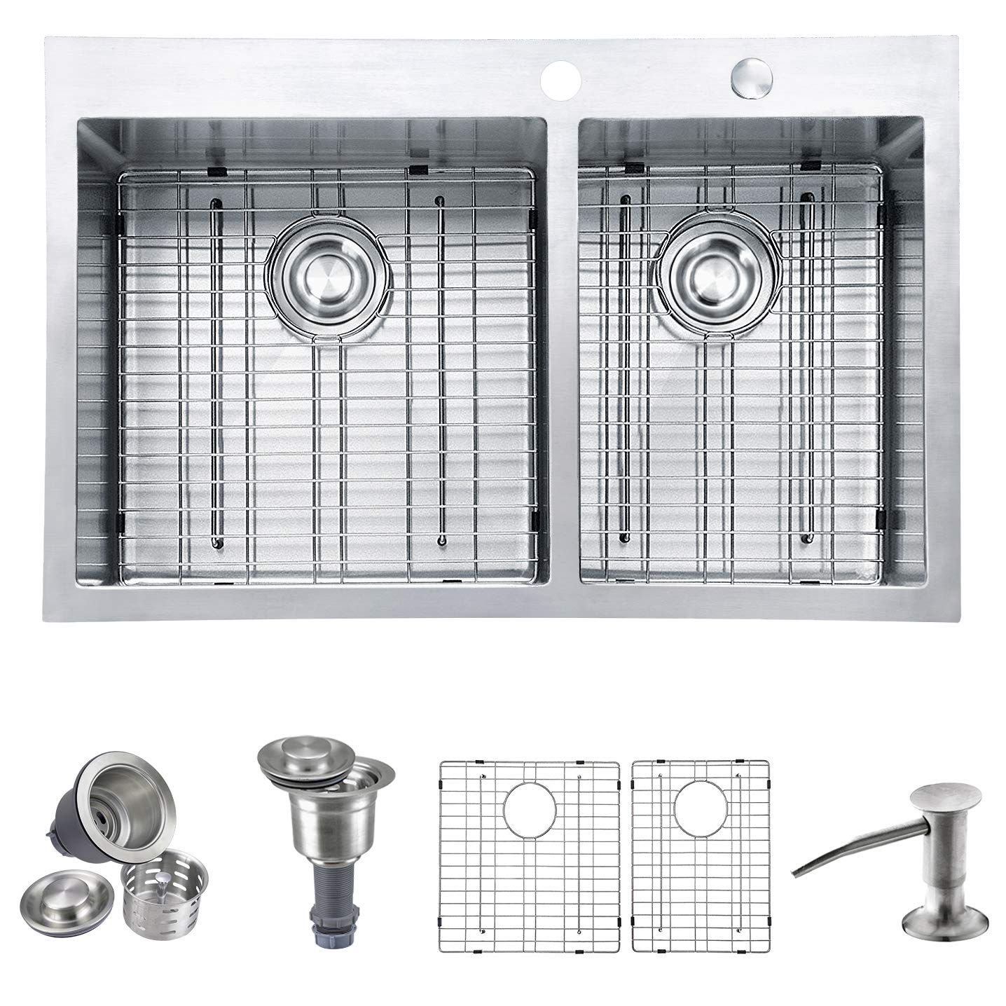 MOWA HTD33DO Upgraded Perfect Drainage Handmade 33'' 16 Gauge Stainless Steel Topmount 60/40 Double Bowl Kitchen Sink, Modern Tight-Radius Style & Commercial Deep Basin, w/Drain Set + Sink Bottom Grid