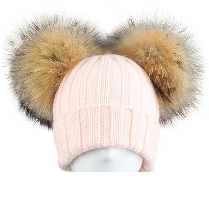 BrillaBenny Cappello Cuffia Rosa Doppio PON PON in Pelliccia MURMASKY 1-3  Anni Bimba Cappellino Lana Hat Pink Fur Raccoon Baby Kids Double Pom Poms  Luxury  ... f88bfe1d4dd3