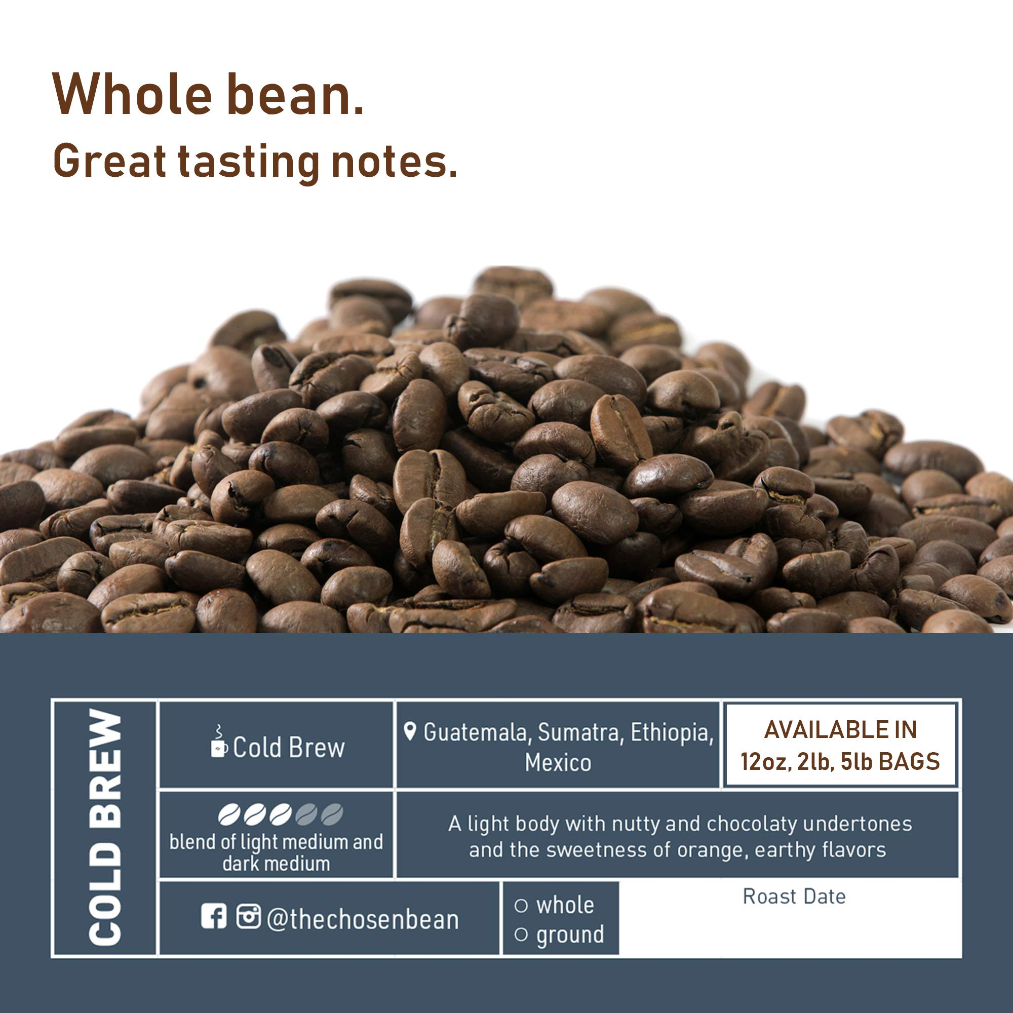 Cold Brew Coffee Solution Specialty Coffee Beans (Whole Bean, 5LB) by The Chosen Bean (Image #2)