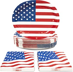 American Flag Napkins and Oval Plates for Election Day (Serves 50, 100 Pieces)