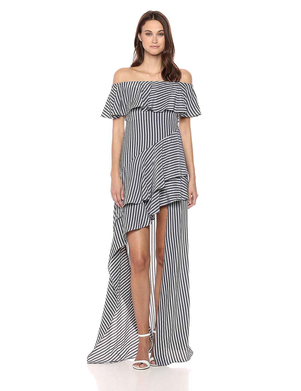 7359d54f3e7b Amazon.com: Halston Heritage Women's Off Shoulder High Low Flounce Striped  Gown: Clothing