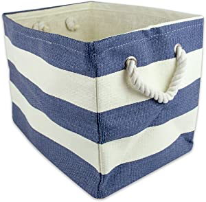 "DII, Woven Paper Storage Bin, Collapsible, 17x12x12"", Rugby Nautical Blue, Large Bin (CAMZ36351)"