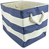 "DII Oversize Woven Paper Storage Basket or Bin, Collapsible & Convenient Home Organization Solution for Office, Bedroom, Closet, Toys, & Laundry (Medium – 15x14x10""), Nautical Blue Rugby Stripe"