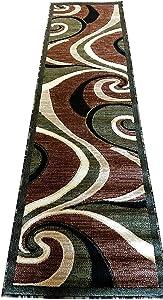 Modern Runner Area Rug Americana Green Design #144 (2 Feet X 7 Feet 3 Inch )