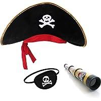 Pirata Sombrero Parche Ojo Capitán Telescopio para Niños