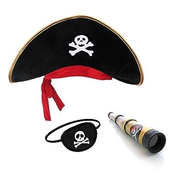 afbe3379e1df6 Pirata Sombrero Parche Ojo Capitán Telescopio para Niños y Adultos   Amazon.es  Juguetes y juegos