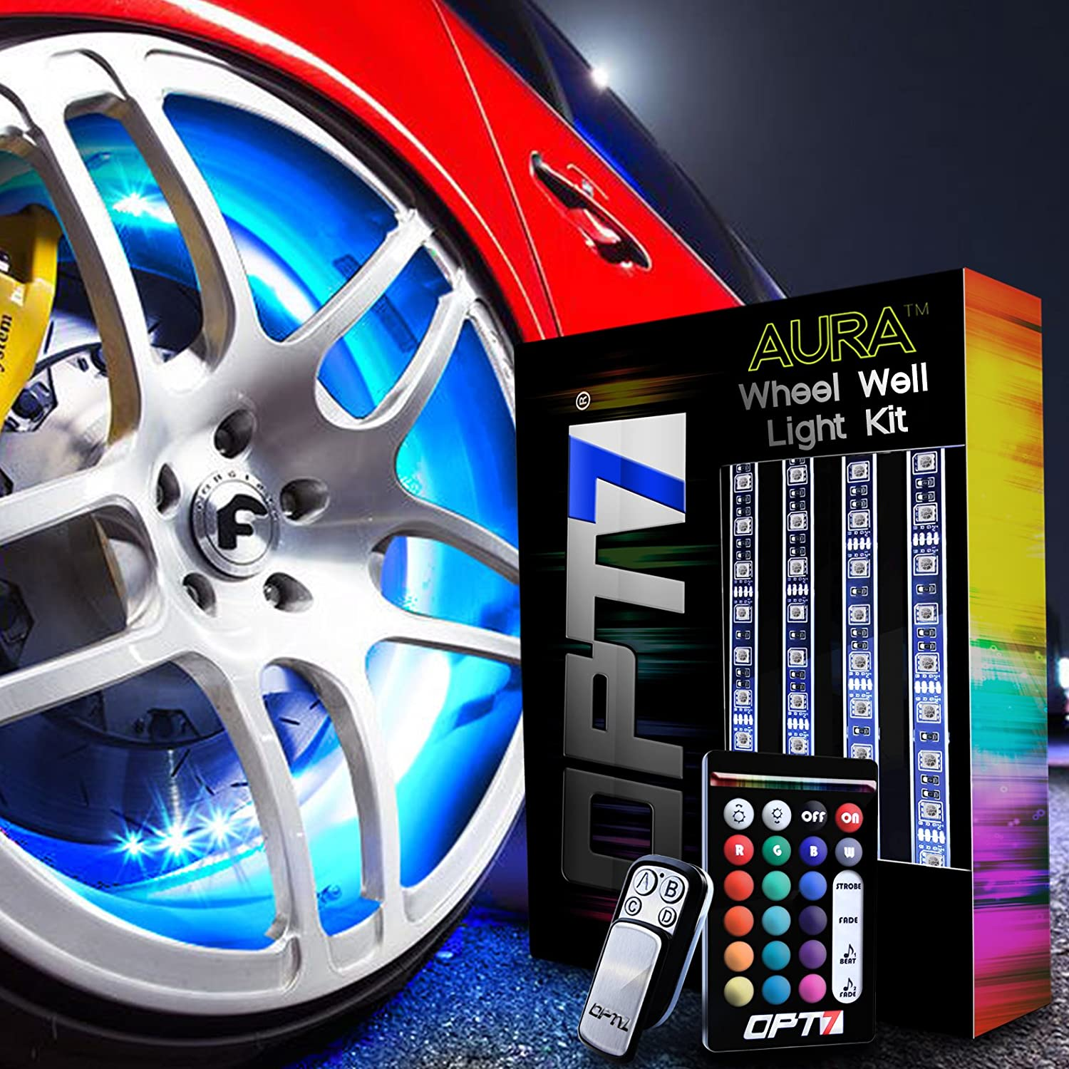 OPT7 3-Into-1 AuraColor™ Wheel Well LED Kit | 4pc Complete 24' Multi-Colour Strips