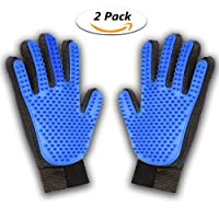 [Updated Version] Pet Grooming Glove Brush, TOPELEK Deshedding Tool, for Removing Pet Shedding Hair, Pet Massage and Bathing Brush Or Comb, for Dogs, Cats, Horses(2 Pack Left&Right)