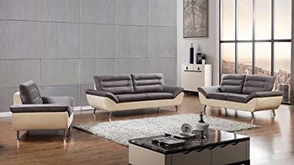 American Eagle Furniture 3 Piece Dorsey Collection Complete Fabric Living  Room Sofa Set, Gray/