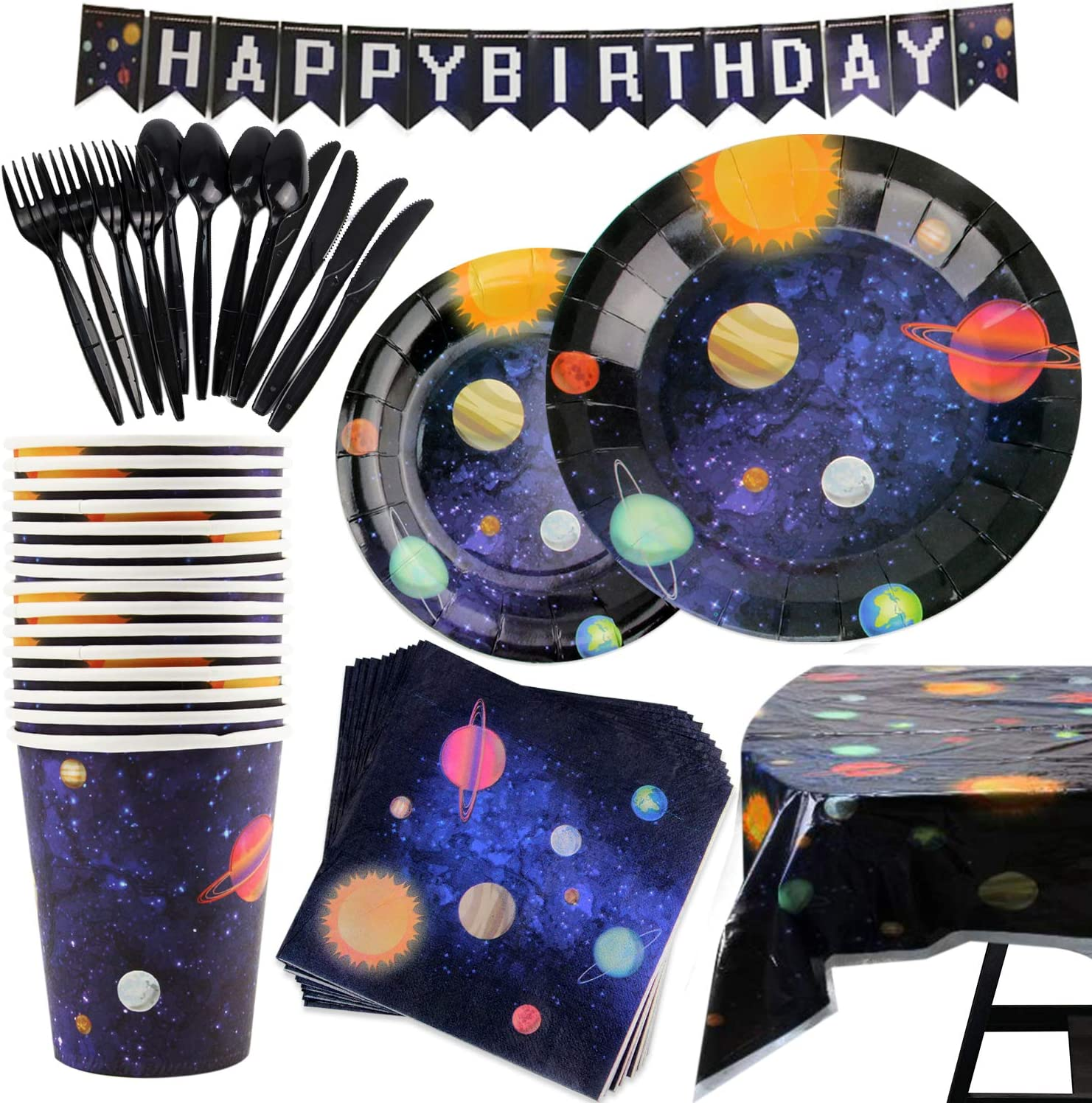 177 Piece Outer Space Party Supplies Set Including Banner, Plates, Cups, Napkins, Tablecloth, Spoon, Fork, and Knives, Serves 25