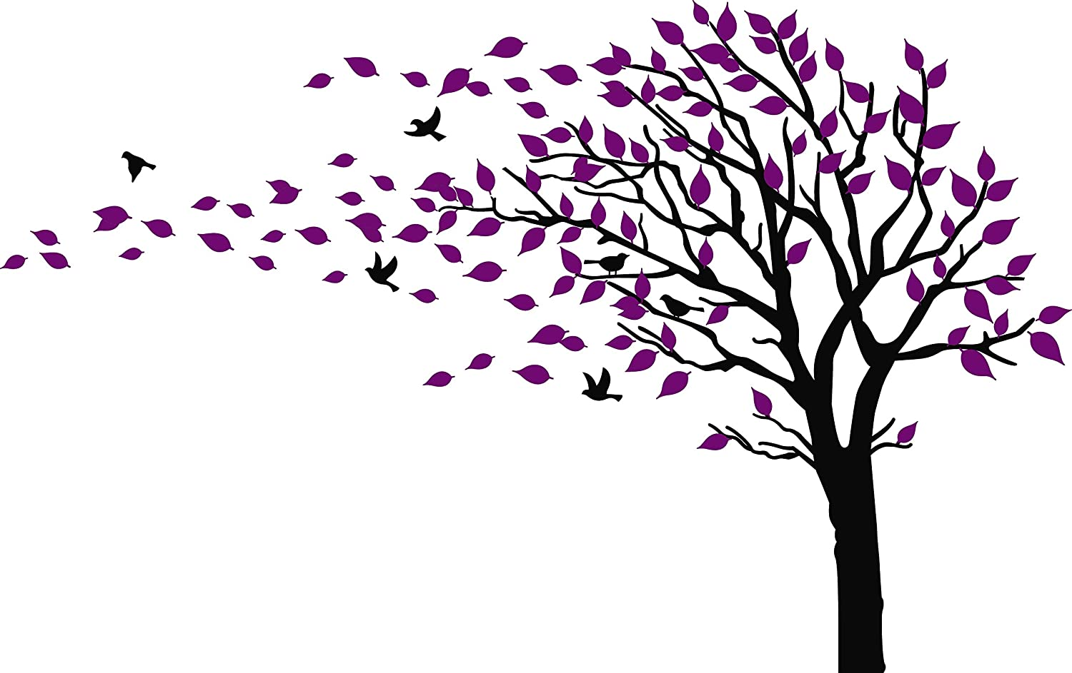 Large Tree Blowing in The Wind Tree Wall Decals Wall Sticker Vinyl Art Kids Rooms Teen Girls Boys Wallpaper Murals Sticker Wall Stickers Nursery Decor Nursery Decals (Black and Purple,Left)