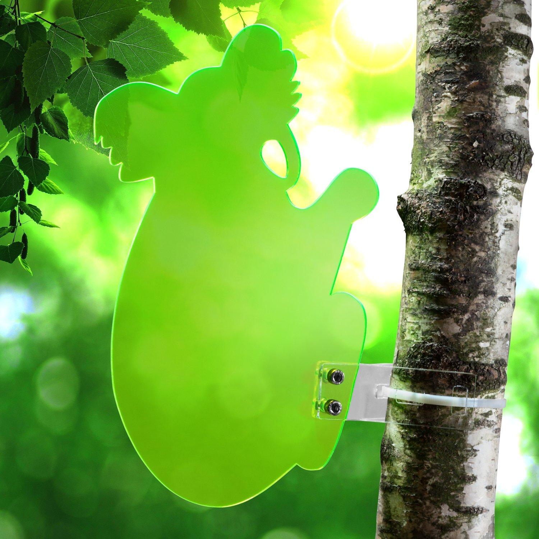 """Frost- und Witterungsbest/ändig fluoreszierend Sonnenf/änger /""""Koala/"""" aus transparentem Plexiglas 25 cm H/öhe Blau leuchtende Kanten auch in den Abendstunden incl Montagematerial"""
