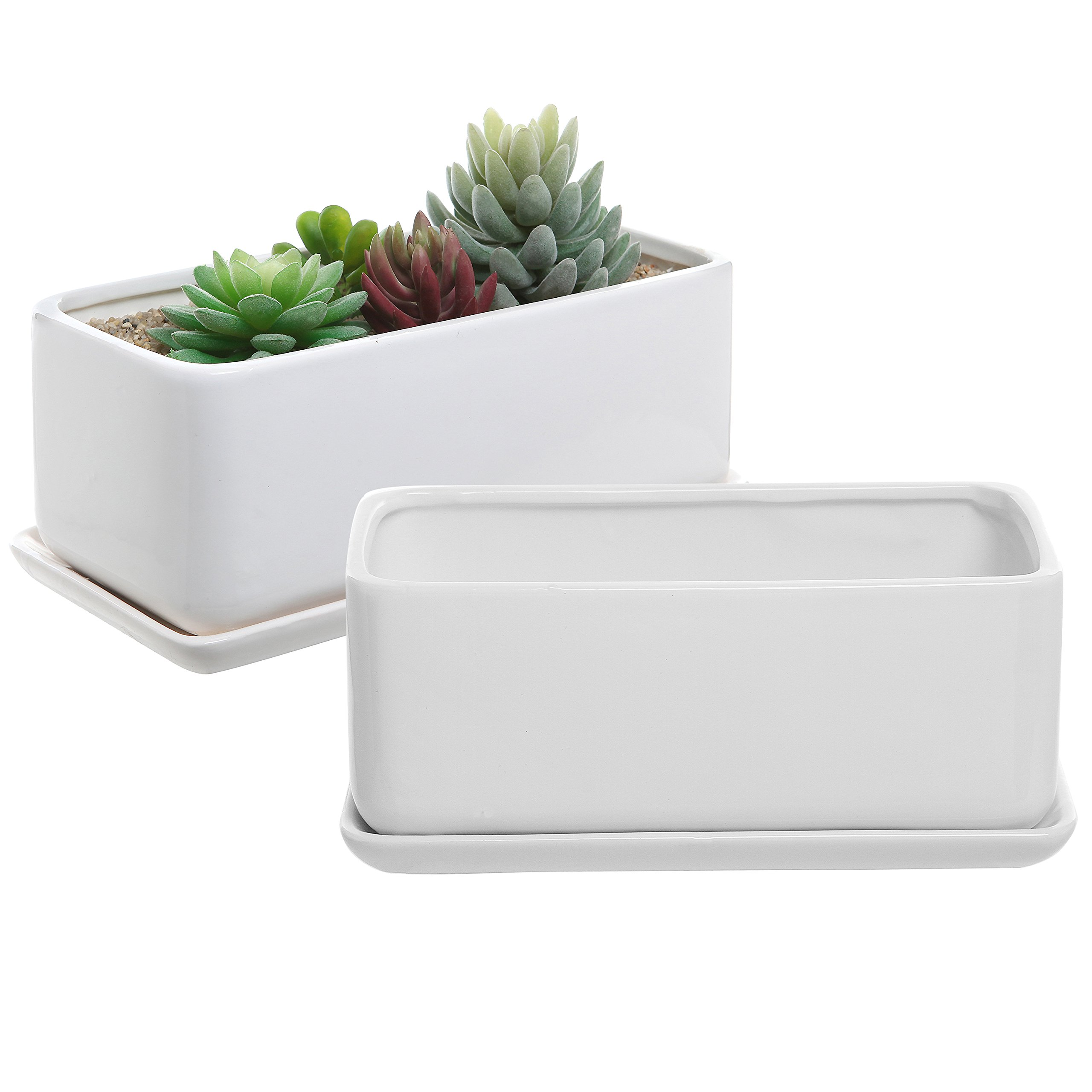 10 inch White Ceramic Rectangular Succulent Planter Pots with Removable Drip Tray, Set of 2