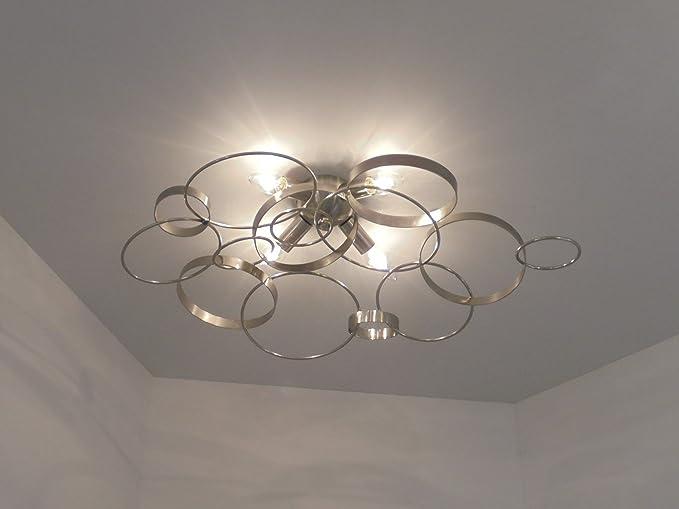 Plafoniere Da Soffitto Di Design : Plafoniera lampada da soffitto design moderno anelli metallo nikel