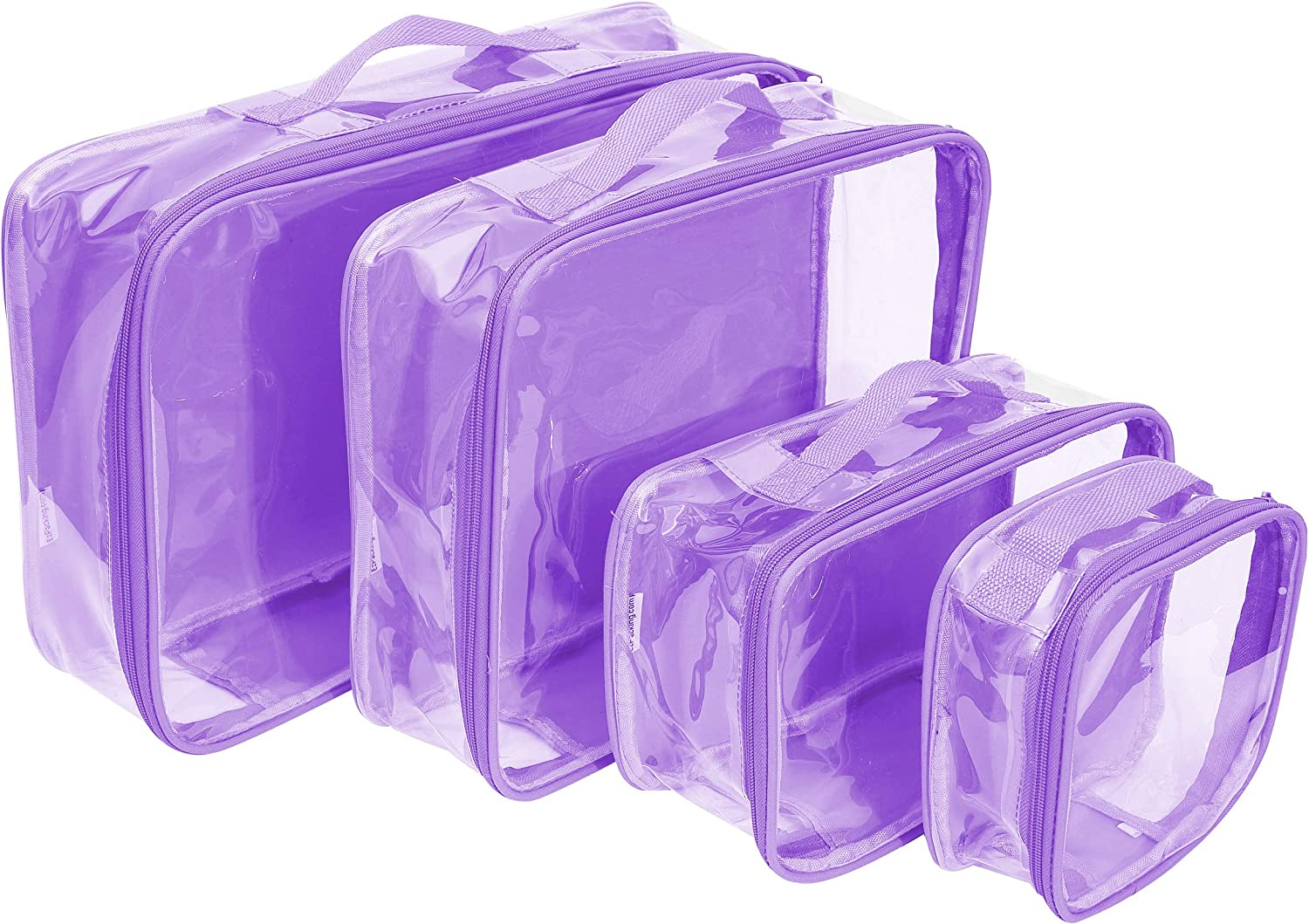 Clear Travel Packing Cubes Set of 4 for Carry On (XS, Small, Medium, Large) / See-Through Clothes Organizer Dividers for Suitcase/Transparent Vinyl PVC Cell Pouches for Luggage (Lilac)