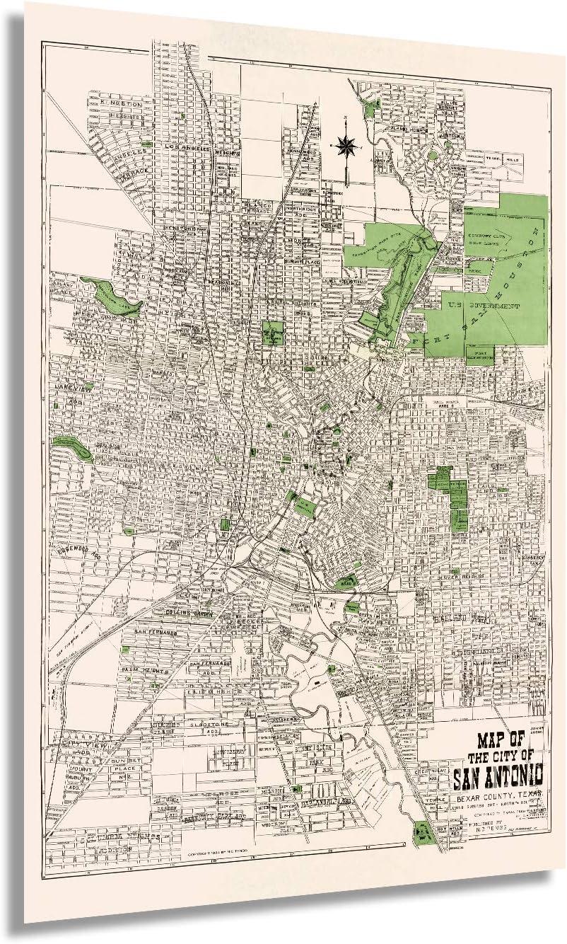 HISTORIX Vintage 1924 San Antonio Map Poster - 24x36 Inch Vintage Map of San Antonio Bexar County Texas Wall Art - Old San Antonio Street Map Including Suburbs Both North South - TX Decor (2 Sizes)