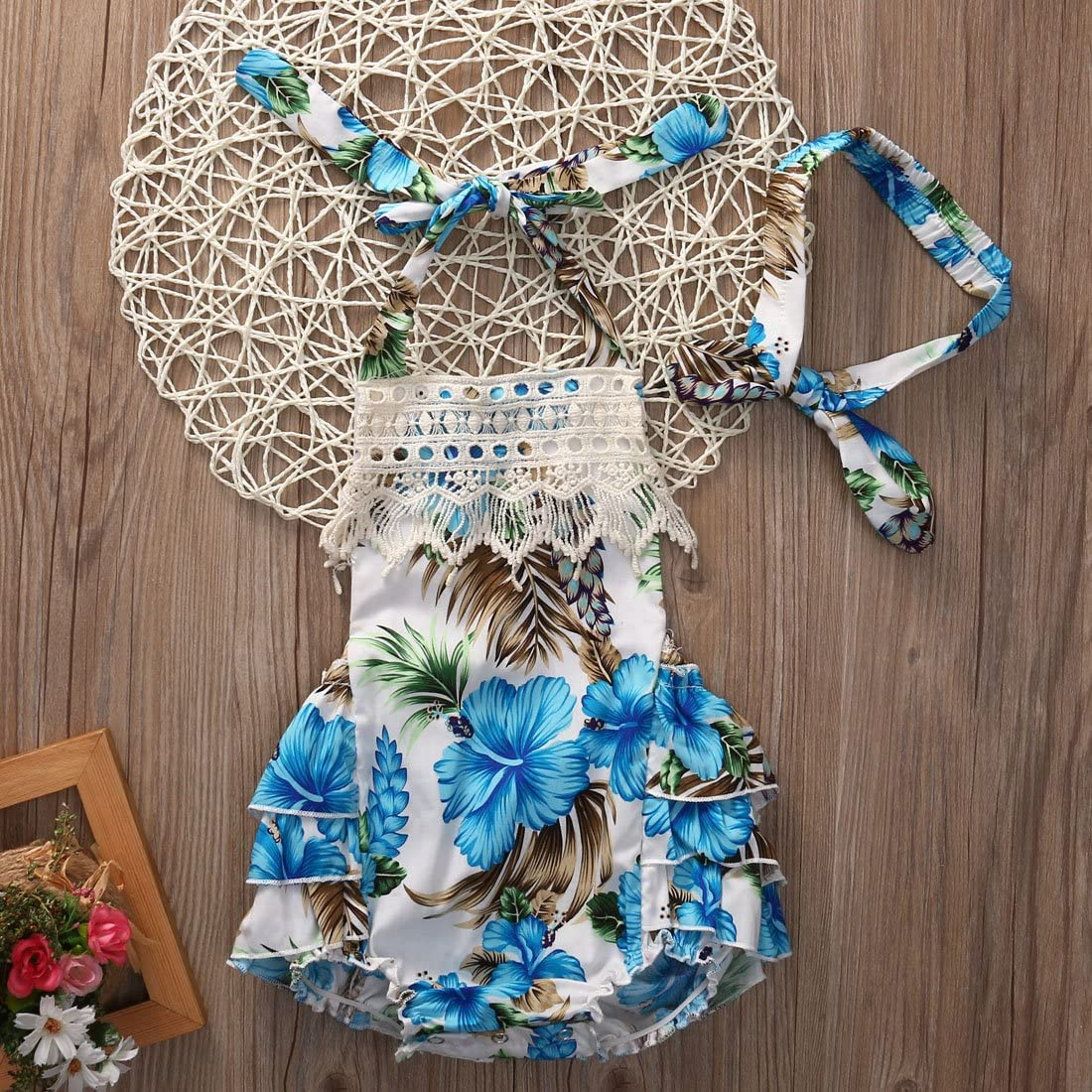 Flower Tiger Baby Girl Lace Floral Dress Backless Halter Ruffled Romper with Headband