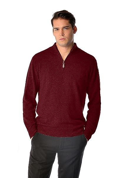 21ad5a2390c Cashmere Boutique: Men's 100% Pure Cashmere Half Zip Sweater (3 Colors,  Sizes: S/M/L/XL)