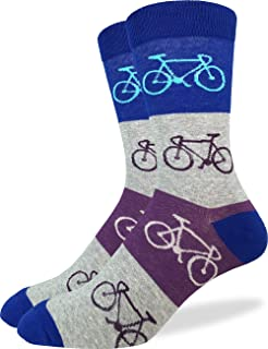 Good Luck Sock Men's Checkered Bicycle Crew Socks - Blue, Adult Shoe size 7-12