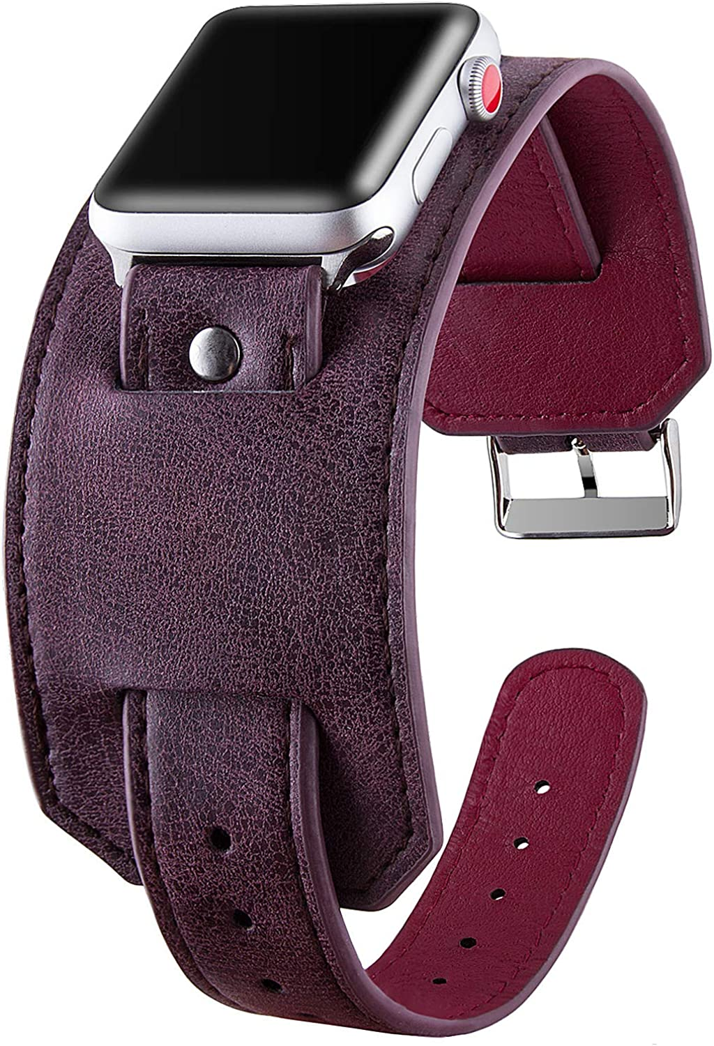 Vikoros Leather Cuff Bracelet Compatible with Apple Watch Band 38mm 40mm 42mm 44mm, Handmade Vintage Dressy Bangle Replacement Wristband Strap Compatible with iwatch Series 5 4 3 2 1 for Men Women