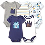 Rosie Pope Kids' Toddler Baby 5-Pack Bodysuits, King of Castle, 3-6 Months