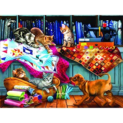 Quilting Room Mischief 300 pc Jigsaw Puzzle by SUNSOUT INC: Toys & Games