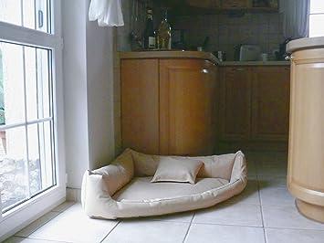 Gabi Perros cama piel sintética esquina cama sofá de esquina cama para perros Perros Talla XXL 140 x 140 cm, color crudo: Amazon.es: Productos para mascotas