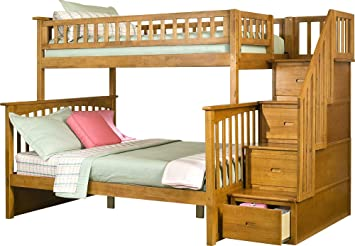 Amazon Com Columbia Staircase Bunk Bed Twin Over Full Caramel