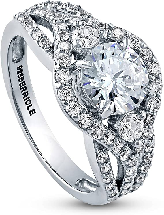 BERRICLE Rhodium Plated Sterling Silver Round Cubic Zirconia CZ 3-Stone Anniversary Engagement Ring 2.08 CTW