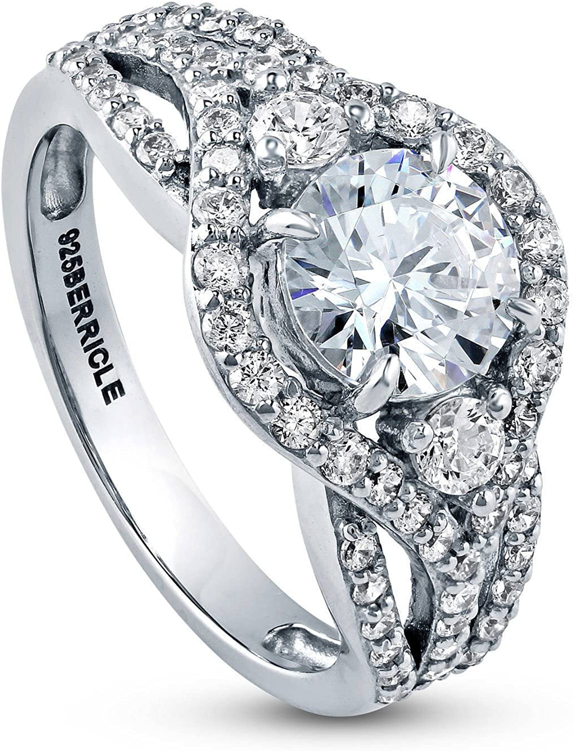 BERRICLE Rhodium Plated Sterling Silver Round Cubic Zirconia CZ 3-Stone Anniversary Engagement Wedding Ring Set 2.3 CTW