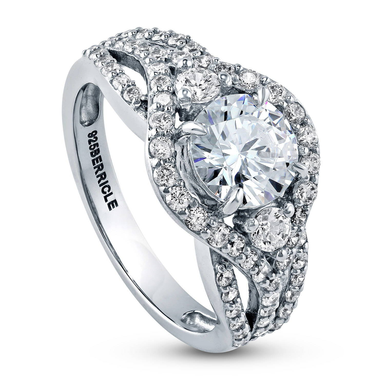 BERRICLE Rhodium Plated Silver Cubic Zirconia CZ Halo 3-Stone Engagement Ring 2.08 CTW Size 9.5