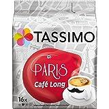Tassimo Paris Café Long, Ground Roast Coffee, Fruity Aroma, Capsules, 16 T-Discs