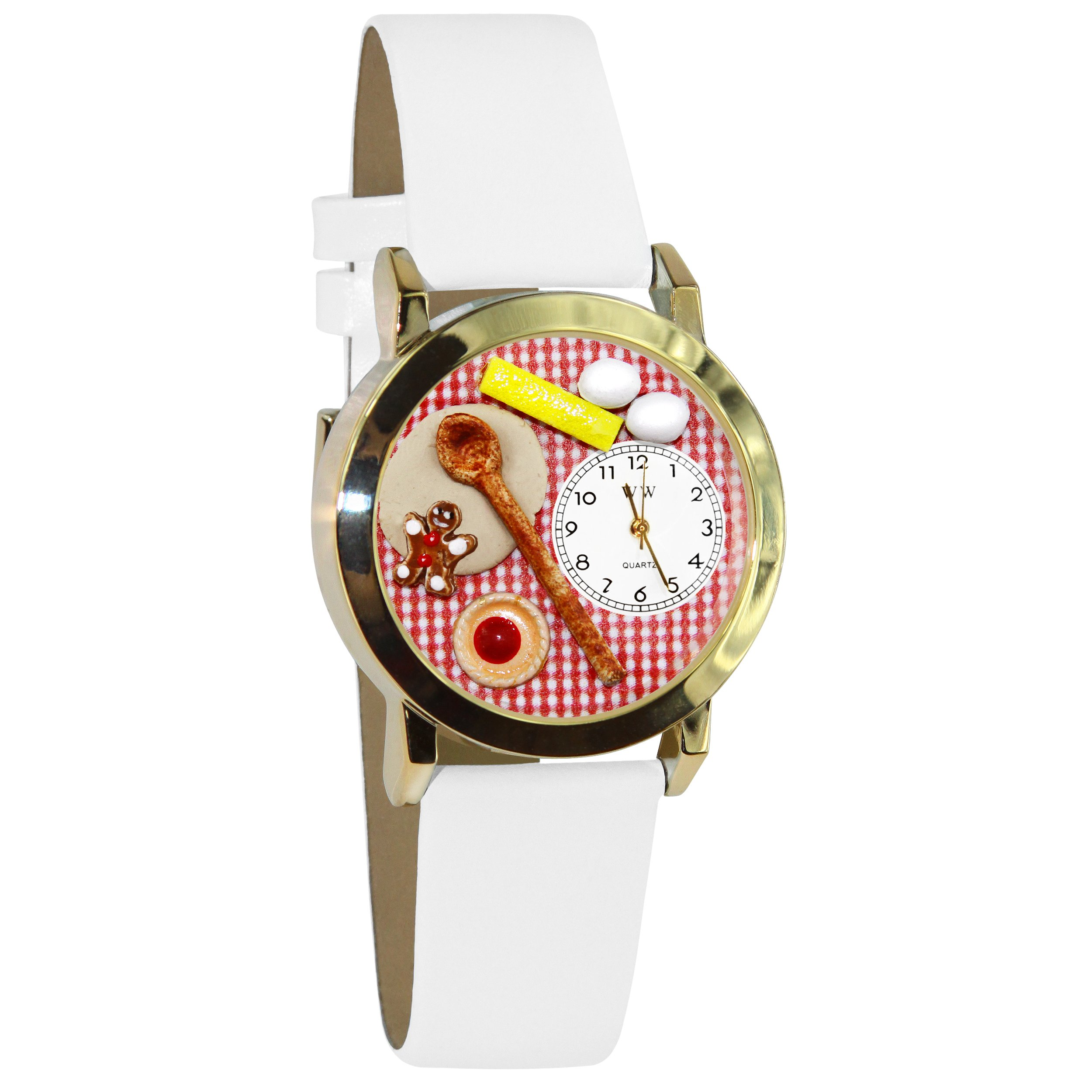 Whimsical Watches Women's C0310006 Classic Gold Baking White Leather And Goldtone Watch