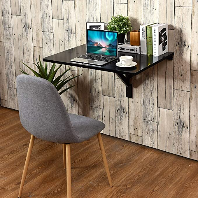 Tangkula Wall Mounted Drop Leaf Table Simple Floating Folding Laptop Desk Space Saving Hanging Table For Study Bedroom Bathroom Or Balcony 31 5 X 23 5 Lxw Black Kitchen Dining Amazon Com