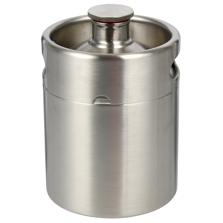 YaeBrew 2 Liter 64 oz Stainless Steel Mini Keg Growler Canteen Craft Beer Homebrewing Home Brew - 64oz Beer Growler Yaemart Corportation TEK-KI-0007
