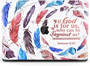 Mertak Hard Case for Apple MacBook Pro 15 2020 Air 13 inch Mac 16 Retina 12 11 2019 2018 2017 Romans 8:31 Touch Bar Protective Christian Print Cover Feathers Boho Bible Verse Quote Scripture