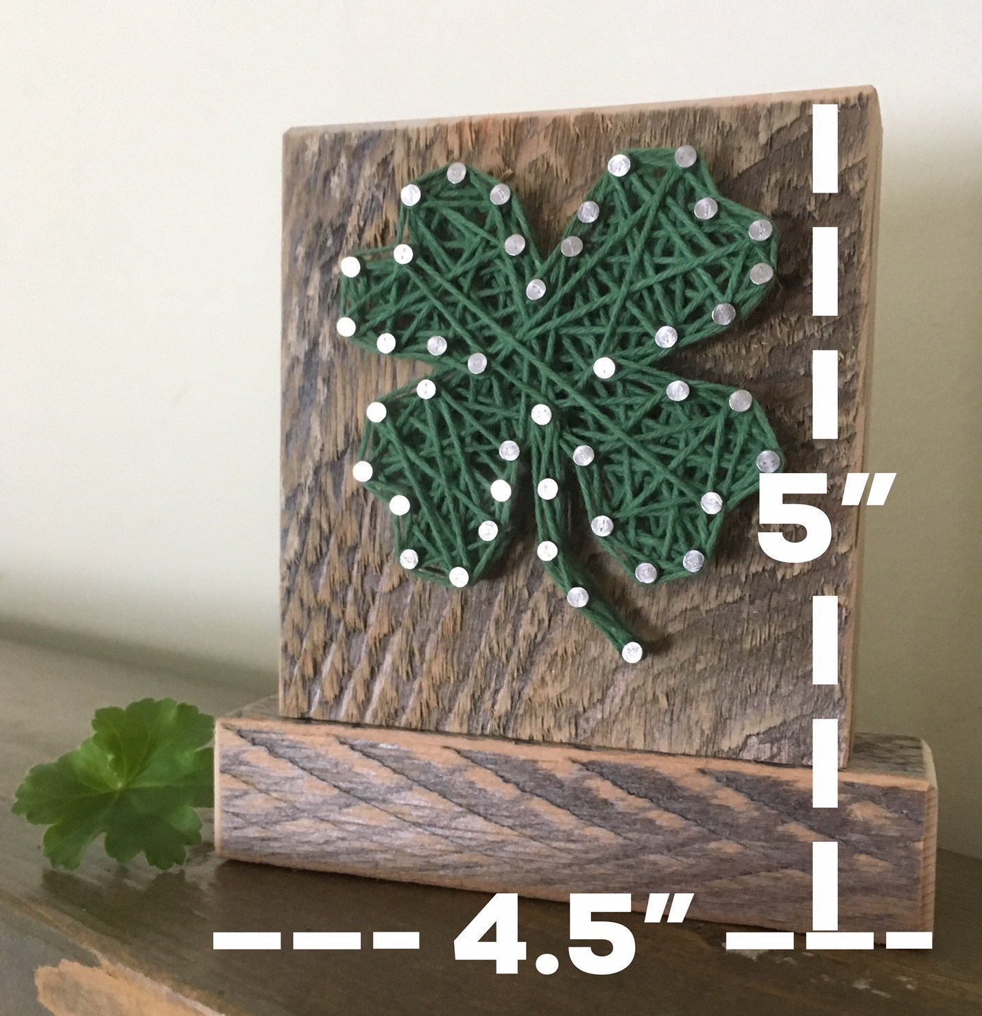 Lucky four leaf clover shamrock string art, by Nail it Art. St. Patrick's Day decoration, Father's Day gift. Good luck graduation gift, new job and for your favorite Irish friend. by Nail it Art (Image #2)