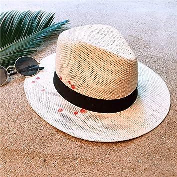 LUHETYM Sombrero de Paja de Verano para Mujer Playa de ala Ancha ...
