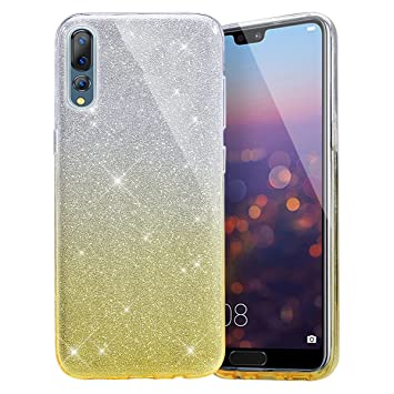 Einfho Huawei P20 Pro móvil, Huawei P20 Pro Funda, Carcasa Huawei P20 Pro Funda de Silicona, 2 en 1 Brillante Bling TPU Silicona Funda Case para ...