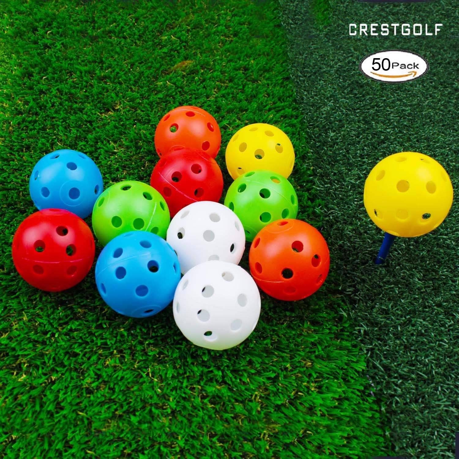 Crestgolf 12/50 Pack Plastic Golf Training Balls - Airflow Hollow 40mm Golf Balls for Driving Range, Swing Practice, Home Use,Pet Play.(Mixed,50pack) by Crestgolf