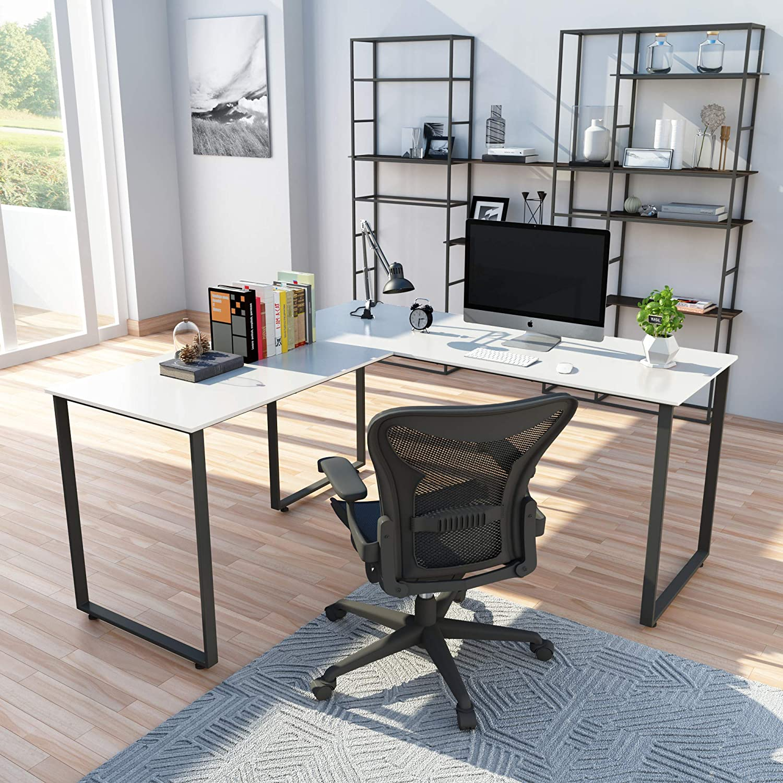 L Shaped Computer Desk,58'' Gaming L Desk, Workstation for Home Office, Wood & Metal